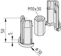 Threaded Insert M10 for D30 aluminium