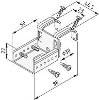 1.1.673.17 Roller Conveyor St, Fastening Bracket U D30-40